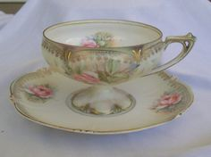 RS Prussia Gold Trim tea cup and saucer with Roses