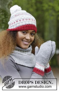 Narvik Set / DROPS - The set consists of: Knitted hat, neck warmer and mittens with multi-coloured Norwegian pattern. The set is worked in DROPS Karisma. Narvik, Drops Design, Mittens Pattern, Knit Mittens, Knitted Hats, Knitting Patterns Free, Free Knitting, Crochet Patterns, The Mitten