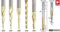 Solid Carbide 2D and 3D Carving Tapered Ball Nose (Conical Ball) & Flat Bottom (End Mill) Zirconium Nitride (ZrN) Coated Router Bits
