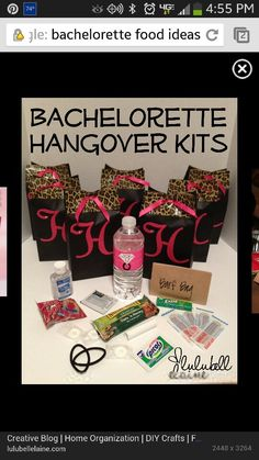 Great bachelorette party gift idea! Just replace the Advil with Restore & Renew from Hangover Lab! :) Bachelor Party Games, Bachelorette Party Food, Party Favor Bags, Duct Tape, Diy Party, Hangover Kits, Bridal, Balloons, Duck Tape