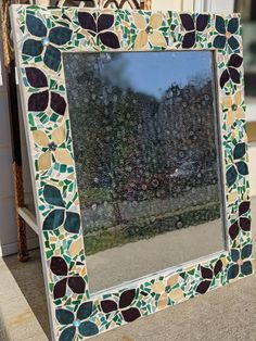Mosaic Flower Mirror by BelievesMosaics on Etsy Flower Petals, Cut Flowers, Mosaic Tiles, Mosaics, Flower Mirror, Crazy Lace Agate, Vintage Frames, Vintage China, White Paints
