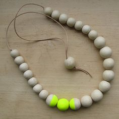 Necklace with Hand Painted Wooden Beads & Leather - Eco-friendly via Etsy