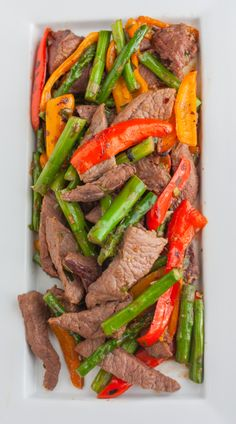Beef Stir-Fry with Roasted Asparagus and Peppers
