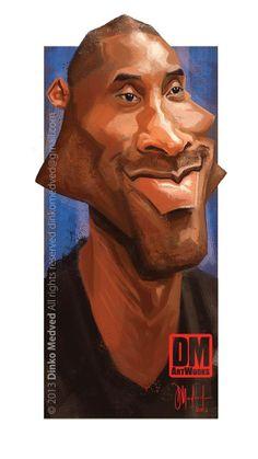 Kobe Bryant - Caricature by Dinko Medved Artworks, more info: https://www.facebook.com/DinkoMedvedArtworks #Kobe #Bryant #Caricature