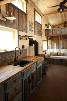 Rustic TINY HOUSE - love the kitchen