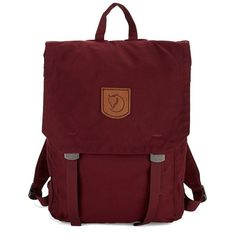 Fjallraven Garnet Foldsack Backpack ($100) ❤ liked on Polyvore featuring bags, backpacks, dark garnet, backpack bags, fjallraven backpack, top handle bags, daypack bag and patch backpack