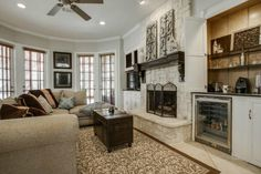 Great idea for built-ins around the fireplace // One for TV and media and one for a bar