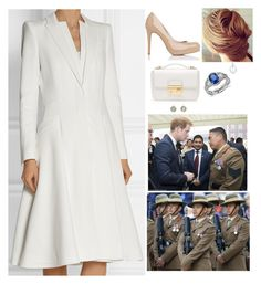 """""""Attending a pageant to celebrate the 200th anniversary of Gurkhas in the British military with Harry"""" by fashion-royalty ❤ liked on Polyvore featuring Roland Mouret, Alexander McQueen, L.K.Bennett, Blue Nile, Roberto Marroni, Prada and Tiffany & Co."""