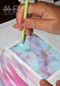 Bokeh Technique~Step by Step Picture Tutorial result is blurred or hazy background. Crafter stenciled white circles to enhance effect.