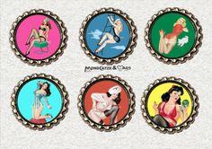 f035 6 er Kronkorken Magnet Set PIN UP GIRLS von Mondcatze´s Zauberwerkstatt auf DaWanda.com