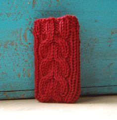 Knit phone sleeve   MaruWool via Etsy