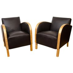 A Pair of Art Deco Club Chairs | From a unique collection of antique and modern club chairs at http://www.1stdibs.com/furniture/seating/club-chairs/