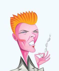 Portrait of David Bowie by Robert Risko: