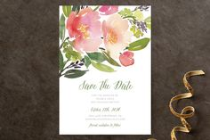 """Watercolor Floral"" - Floral & Botanical Save The Date Cards in Rose by Yao…"