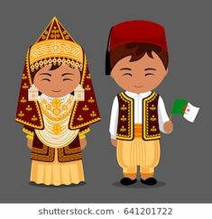 Algerians in national dress with a flag. Man and woman in traditional costume. Travel to Algeria. People. Vector flat illustration.