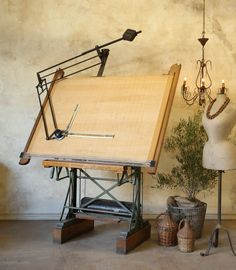 vintage Mayline drafting table from the 1930s