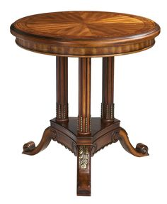 Walnut Finish Round Accent Table With Three Legs | 55DowningStreet.com
