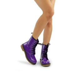 Purple Patent Milatary Combat Boots Women