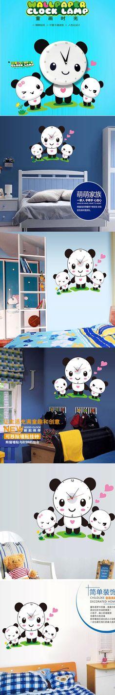 1 piece 44*58CM Creative Love Cute Panda Family Clocks Wall Stickers Home Decor Clocks adesivo de parede For Baby Bedroom $14.99