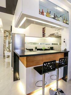Simple, bright, and homey-this unit is the perfect sanctuary for a family of three Condo Interior Design, Condo Design, Apartment Design, House Design, Small Condo Decorating, Apartment Balcony Decorating, Apartments Decorating, Condo Kitchen, Home Decor Kitchen