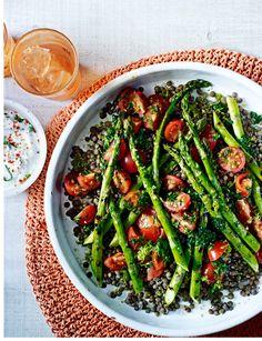 Puy lentil, asparagus and salsa verde salad by Natasha Corrett
