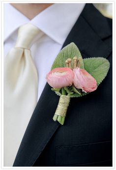 pink ranunculus boutonniere by lovely little details featured on @100 Layer Cake, images by @Edyta Szyszlo