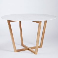 Marcello Round Dining Table- Italian Carrara Marble and American White Oak