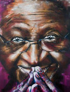 Desmond Tutu chaz williams art. Oil portrait