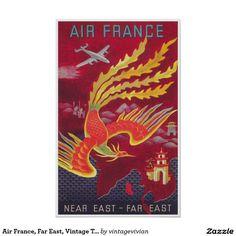 Air France, Far East, Vintage Travel Poster