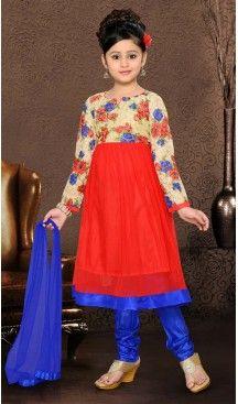 Girl's Incredible Blue Art Silk in Self Design Readymade Salwar Kameez