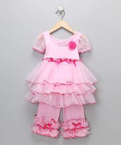 Pink Ruffle Dress & Pants - Infant, Toddler & Girls