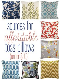 sources for affordable toss pillows (under 50 dollars)