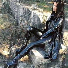 """Waist Liquid Leggings Black liquid """"leather"""" leggings Stretchy Back zip No internal tag–Compare to Unif or Dollz Leather Tights, Leather Pants Outfit, Black Leather Skirts, Pvc Raincoat, Plastic Raincoat, Vinyl Raincoat, Yellow Raincoat, Black Dress Makeup, Boots"""
