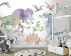 Dinosaur light   Etsy Dinosaur Wall Decals, Kids Room Wall Decals, Animal Wall Decals, Dinosaur Nursery, Wall Murals, Kids Murals, Safari Nursery, Woodland Nursery, Kids Watercolor