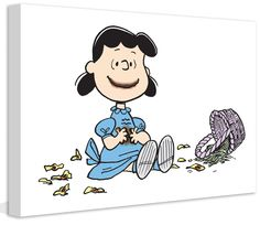 """Peanuts """"Lucy Easter Basket"""" Graphic Art on Canvas"""