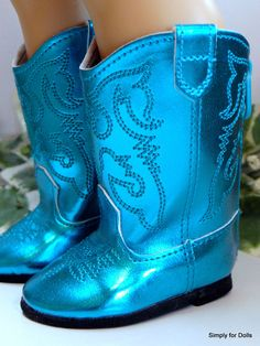 """TEAL Metallic Western Cowboy DOLL BOOTS SHOES fit 18"""" AMERICAN GIRL Doll Clothes #Unbranded"""