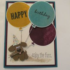 "Stampinup #punchitup challenge using one of my ""Pansy Punch Pups in this adorable Birthday card!"