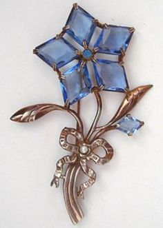 Blue Glass Flower Brooch - Garden Party Collection Vintage Jewelry