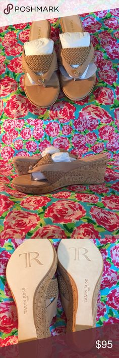 🌹Taryn Rose Kijani 9 1/2 M Sandals🌹 New in box, never worn Taryn Rose nubuck sandals. They have a 3 inch cork wedge heel and a elastic weaved band that runs across your foot. I will ship them in their box. Taryn Rose Shoes Sandals