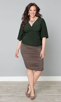 Riley Ruched Skirt, Antique Taupe (Women's Plus Size) From the Plus Size Fashion Community at www.VintageandCurvy.com
