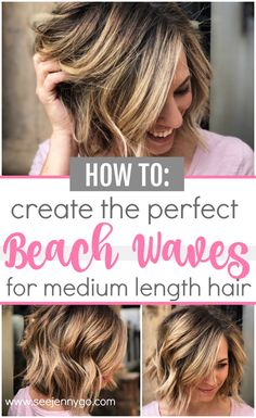 Get summer ready with the perfect beach waves tutorial. Anyone can recreate this. <img> Get summer ready with the perfect beach waves tutorial. Anyone can recreate this super easy look for their medium length hair - Hairstyles For Medium Length Hair Tutorial, Curls For Medium Length Hair, Hair Tutorials For Medium Hair, Medium Hair Styles, Short Hair Styles, Beach Hairstyles Medium, Curls For Short Hair, Diy Hairstyles, Hair