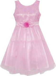 Girls Dress Shinning Sequins Tulle Layers Party Pageant Pink Size 2-10 Years