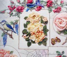 Roses in silk and organza ribbon. So beautiful.