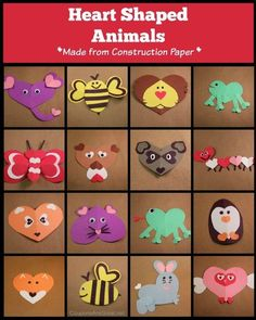 Heart Shaped Animals - these animals are great construction paper crafts to do with kids of all ages! They make perfect additions to your Valentine's.: