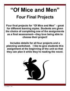 """Of Mice and Men"" resource - Four engaging final projects for ""Of Mice and Men"". Teaching Time, Student Teaching, Teaching Reading, Teaching Tools, Teacher Resources, Teaching American Literature, Educational Psychology, Teacher Boards, Classroom Tools"