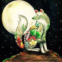 Bora dormir? Tenham sonhos coloridos! Este luar está participando do CONCURSO #nacionaltopfashion @Regrann from @dianamoraesdkpm -  A lua cheia surge no céu escuro e estrelado, junto com ela, um lobo apaixonado, que vive no REINO ANIMAL para nos ensinar que o amor entre eles é a beleza da noite.  Pinto meu LIVRO com carinho, AMO COLORIR a vida, e com inspiração, é mais que TOP, é divino.  Livro: Floresta Encantada  #colorindolivrostop #colorindoomundofashion #nacionaltopfashion  #sorteio…
