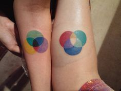 My wife and I got bro Tats. Additive and subtractive color wheels. Todd @ Two-Tone, Murfreesboro, Tn. - Imgur