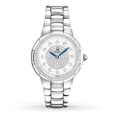 Bulova Womens Watch Diamond Bezel and Dial 96R168.............all diamonds and all mine! Thanks Hubby!!!