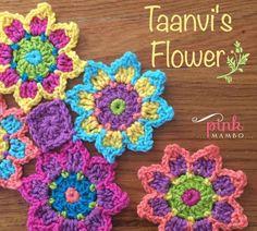 Taanvi's Flower Crochet Motif designed by Carolyn Christma. Taanvi's Flower Crochet Motif designed by Carolyn Christmas Crochet Puff Flower, Crochet Flower Patterns, Crochet Motif, Crochet Flowers, Crochet Stitches, Pattern Flower, Crochet Crafts, Yarn Crafts, Crochet Projects