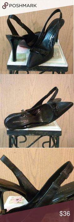 """Kenneth Cole New York Leather Pumps Sz. 8.5 Beautiful black pointed-toe pumps! Leather lining & sole with satiny upper and patent bow. Other than minimal wear to the leather sole, there is no damage to shoe in or out (ie. scratches, scuffs or gouges). Elastic on sling-back is in perfect condition.  4"""" heel. Made in Brazil.  Price is firm with FREE SHIPPING. OFFER $20 ?? Kenneth Cole Shoes Heels"""